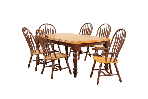 Sunset Trading Selections Walnut Light Oak Extendable 7pc Dining Set SST-DLU-SLT4272-4130A-NLO7PC
