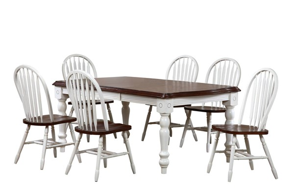 Sunset Trading Andrews Antique White Chestnut Extendable 7pc Dining Sets with Arrowback Chairs SST-DLU-SLT4272-820-7PC-VAR
