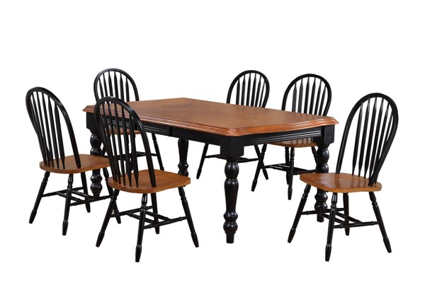 Sunset Trading Antique Black Cherry Extendable 7pc Dining Set with Arrowback Chairs SST-DLU-SLT4272-820-BCH7PC