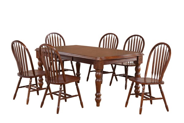 Sunset Trading Andrews Chestnut Extendable 7pc Dining Set with Arrowback Chairs SST-DLU-SLT4272-820-CT7PC