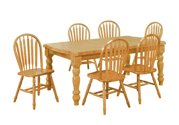 Sunset Trading Selections Light Oak Extendable 7pc Dining Sets with Arrowback Chairs SST-DLU-SLT427-820-7PC-VAR