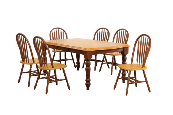 Sunset Trading Selections Nutmeg Light Oak Extendable 7pc Dining Set with Arrowback Chairs SST-DLU-SLT4272-820-NLO7PC