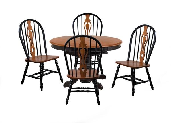 Sunset Trading Antique Black Cherry Pedestal Butterfly Leaf 5pc Dining Set with Keyhole Chairs SST-DLU-TBX4866-124S-BCH5PC