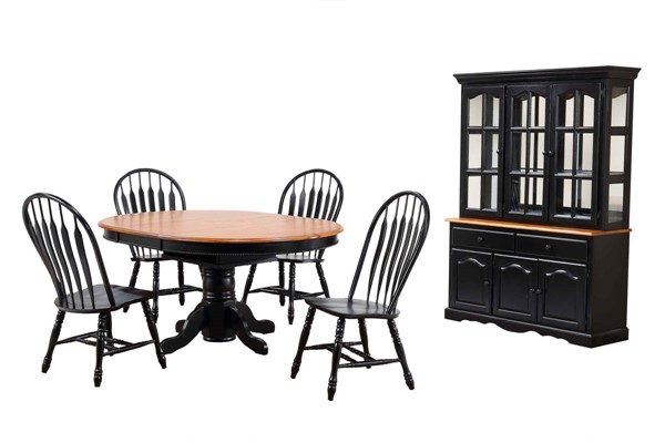 Sunset Trading Antique Black Cherry Pedestal 7pc Dining Set with China Cabinet SST-DLU-TBX4866-4130-22BHAB7PC