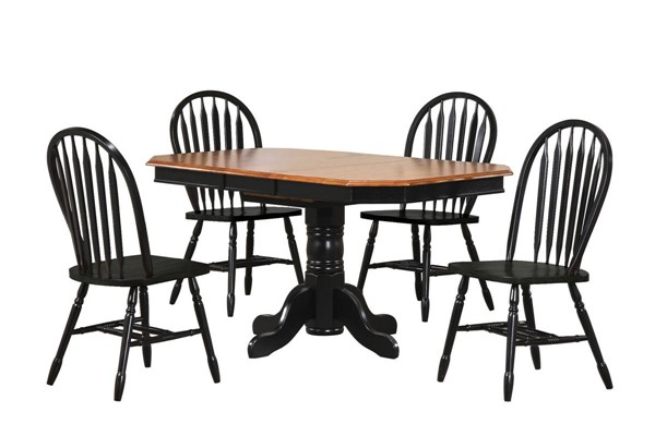 Sunset Trading Antique Black Pedestal Extendable 5pc Dining Set with Arrowback Chairs SST-DLU-TCP3660-820-AB5PC