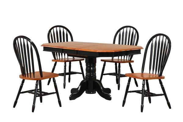 Sunset Trading Antique Black Cherry Pedestal Extendable 5pc Dining Set with Arrowback Chairs SST-DLU-TCP3660-820-BCH5PC