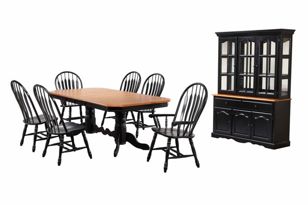 Sunset Trading Antique Black Cherry Double Pedestal Trestle 9pc Dining Set with China Cabinet SST-DLUTCP42844130A-22BHAB9PC