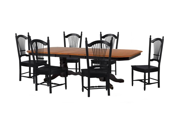 Sunset Trading Antique Black Cherry Double Pedestal Trestle Butterfly Leaf 7pc Dining Set SST-DLU-TCP4284-C07-AB7PC