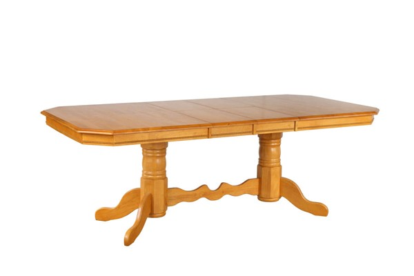 Sunset Trading Selections Light Oak Double Pedestal Trestle Dining Table SST-DLU-TCP4284-LO