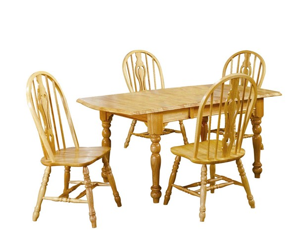 Sunset Trading Selections Light Oak Drop Leaf Extendable 5pc Dining Set SST-DLU-TDX3472-124S-LO5PC