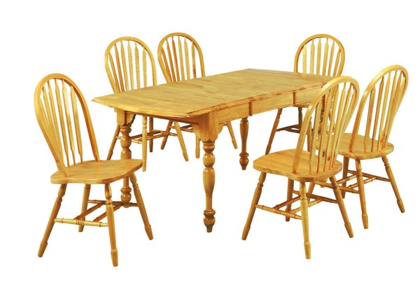 Sunset Trading Selections Light Oak Drop Leaf Extendable 7pc Dining Set SST-DLU-TDX3472-820-LO7PC