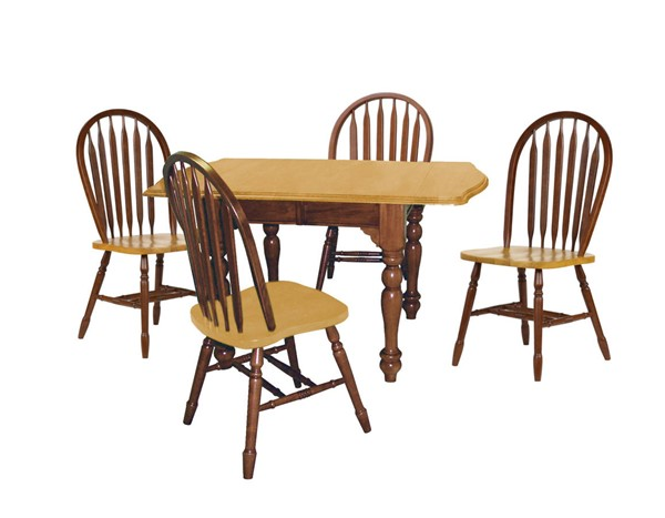 Sunset Trading Selections Walnut Light Oak Drop Leaf Extendable 5pc Dining Set SST-DLU-TDX3472-820-NLO5PC