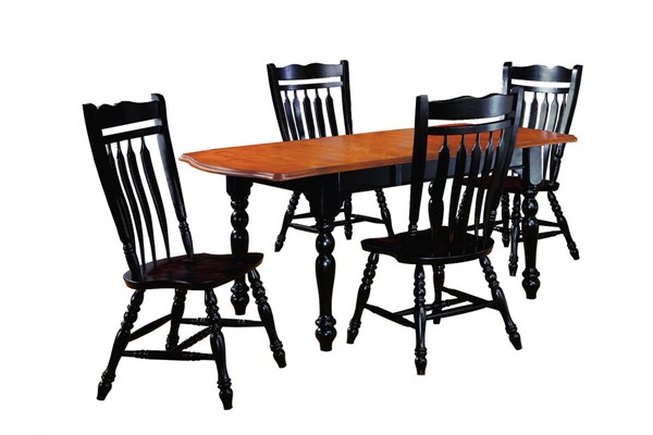 Sunset Trading Antique Black Cherry Drop Leaf Extendable 5pc Dining Set with Aspen Chairs SST-DLU-TDX3472-C10-AB5PC