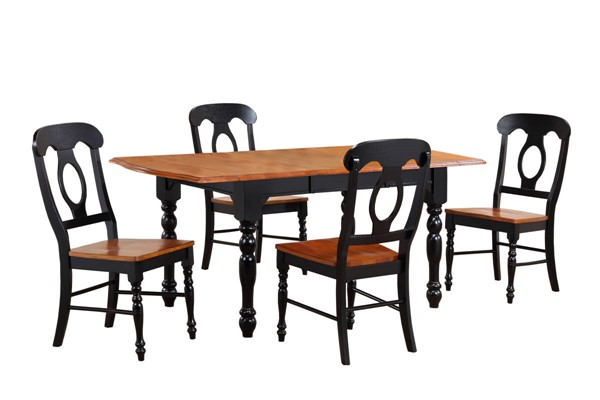 Sunset Trading Antique Black Cherry Drop Leaf Extendable 5pc Dining Set with Napoleon Chairs SST-DLU-TDX3472-C50-BCH5PC