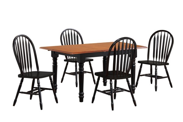 Sunset Trading Antique Black Butterfly Leaf 5pc Dining Set with Arrowback Chairs SST-DLU-TLB3660-820-AB5PC