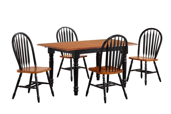 Sunset Trading Antique Black Cherry Butterfly Leaf 5pc Dining Set with Arrowback Chairs SST-DLU-TLB3660-820-BCH5PC