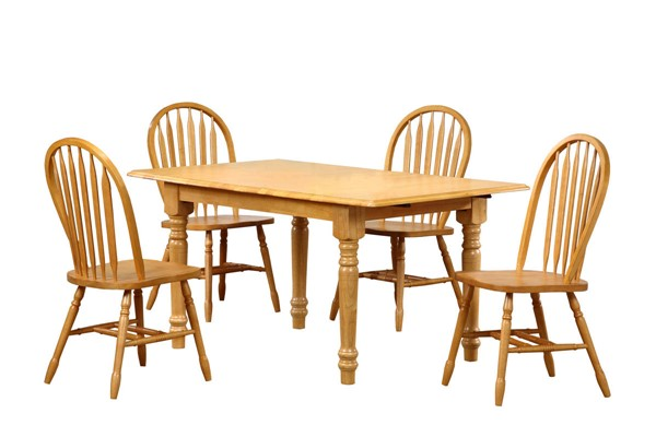 Sunset Trading Selections Light Oak Butterfly 5pc Dining Sets with Arrowback Chairs SST-DLU-TLB3660-820-5PC-S-VAR