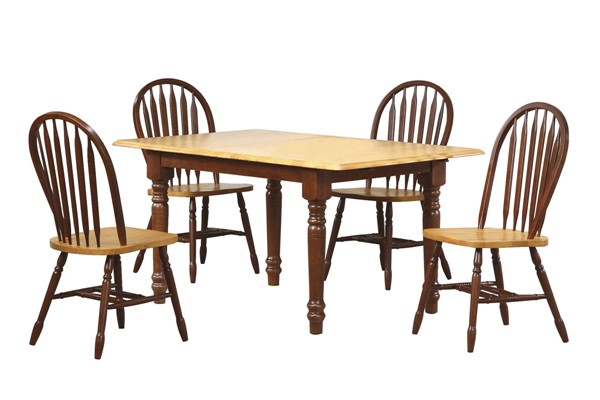 Sunset Trading Selections Nutmeg Brown Light Oak Butterfly 5pc Dining Set with Arrowback Chairs SST-DLU-TLB3660-820-NLO5PC