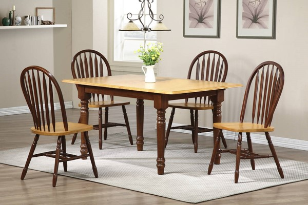 Sunset Trading Selections Walnut Light Oak Butterfly 5pc Dining Set with Arrowback Chairs SST-DLU-TLB3660-820-NLO5PC