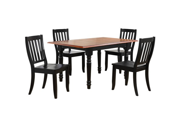Sunset Trading Antique Black Butterfly Leaf 5pc Dining Set with Napoleon Chairs SST-DLU-TLB3660-C20-AB5PC
