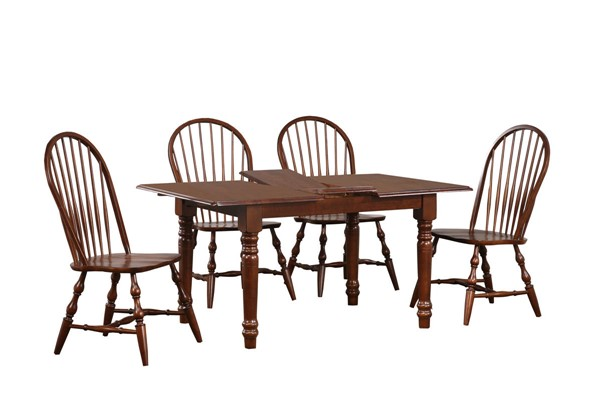 Sunset Trading Andrews Chestnut 5pc Dining Set with Windsor Spindleback Chairs SST-DLU-TLB3660-C30-CT5PC