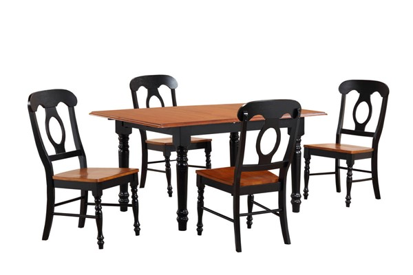 Sunset Trading Antique Black Cherry Butterfly Leaf 5pc Dining Set with Napoleon Chairs SST-DLU-TLB3660-C50-BCH5PC