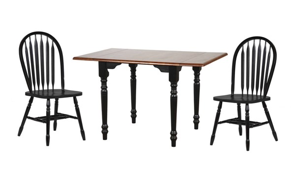 Sunset Trading Antique Black Drop Leaf 3pc Dining Set with Arrowback Chairs SST-DLU-TLD3448-820-AB3PC