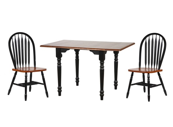 Sunset Trading Antique Black Cherry Drop Leaf 3pc Dining Set with Arrowback Chairs SST-DLU-TLD3448-820-BCH3PC