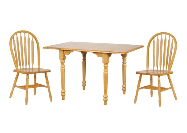 Sunset Trading Selections Light Oak Drop Leaf 3pc Dining Sets with Arrowback Chairs SST-DLU-TLD3448-820-3PC-S-VAR