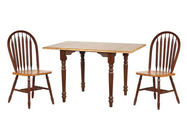Sunset Trading Selections Walnut Light Oak Drop Leaf 3pc Dining Set with Arrowback Chairs SST-DLU-TLD3448-820-NLO3PC