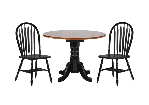 Sunset Trading Antique Black Round Drop Leaf 3pc Dining Sets with Arrowback Chairs SST-DLU-TPD4242-820-3PC-VAR