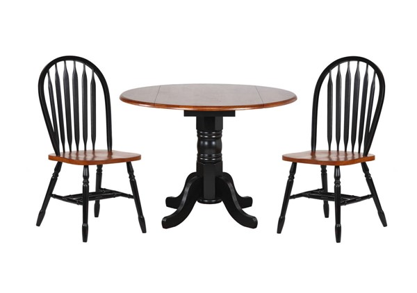 Sunset Trading Antique Black Cherry Round Drop Leaf 3pc Dining Set with Arrowback Chairs SST-DLU-TPD4242-820-BCH3PC