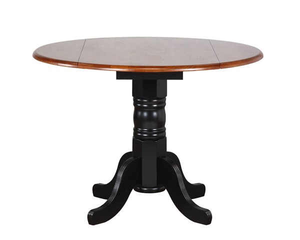 Sunset Trading Antique Black Cherry Round Drop Leaf Dining Table SST-DLU-TPD4242-BCH