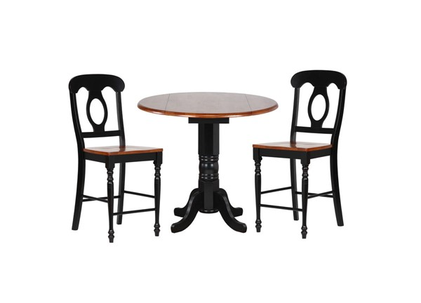 Sunset Trading Antique Black Cherry Round Drop Leaf 3pc Pub Set with Napoleon Stools SST-DLU-TPD4242CB-B50-BCH3PC