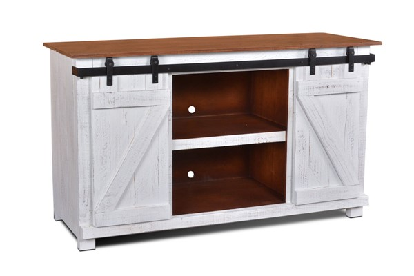 Sunset Trading Stowe White Brown Door Console TV Stand SST-HH-2130-060