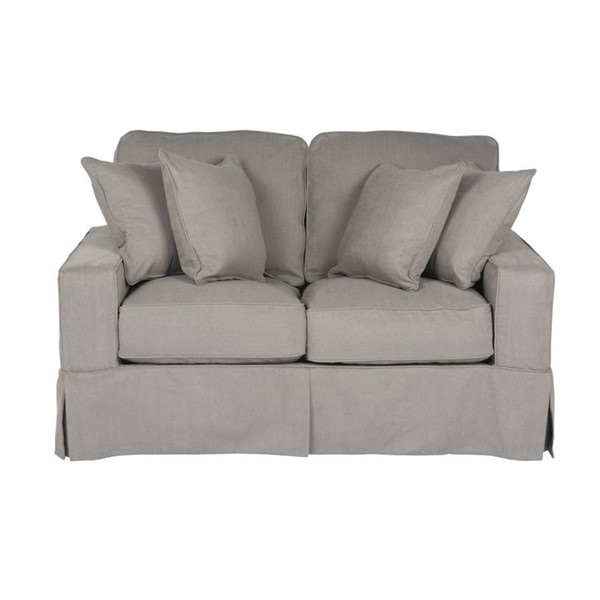 Sunset Trading Americana Grey Box Cushion Slipcovered Loveseat SST-SU-108510-391094