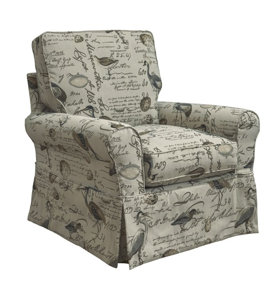 Sunset Trading Horizon Cream Brown Gray Box Cushion Chair Striped Slipcover Only SST-SU-114993SC-854825