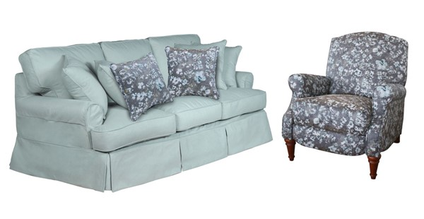Sunset Trading Horizon Ocean Blue Gray White 2pc Living Room Set with Recliner SST-SU-1176-43-109097