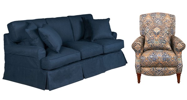 Sunset Trading Horizon Navy Blue Gold Cream 2pc Living Room Set with Recliner SST-SU-1176-49-109095
