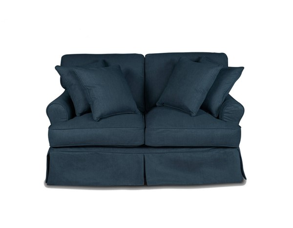 Sunset Trading Horizon Navy Blue Fabric T Cushion Slipcovered Loveseat SST-SU-117610-391049