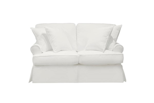 Sunset Trading Horizon White Fabric T Cushion Slipcovered Loveseat SST-SU-117610-391081