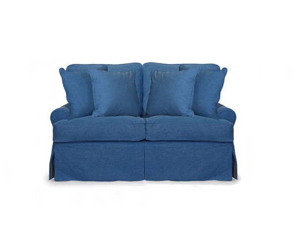 Sunset Trading Horizon Indigo Blue Fabric T Cushion Slipcovered Loveseat SST-SU-117610-410046