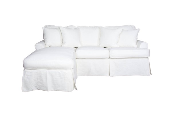 Sunset Trading Horizon Warm White Cotton Slipcovered Sleeper Sectional SST-SU-117678-423080