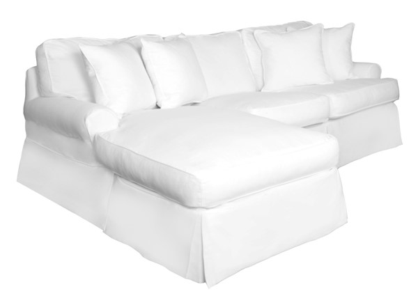 Sunset Trading Horizon White T Cushion Sofa Sectional Slipcover Only SST-SU-117678SC-391081
