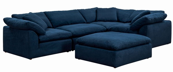 Sunset Trading Cloud Puff Navy Blue Slipcovered L Shaped 5pc Sectional with Ottoman SST-SU-1458-49-3C-1A-1O