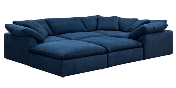 Sunset Trading Cloud Puff Navy Blue Slipcovered 6pc Pitt Sectional SST-SU-1458-49-3C-1A-2O