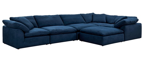 Sunset Trading Cloud Puff Navy Blue Slipcovered 6pc L Shaped Sectional with Ottoman SST-SU-1458-49-3C-2A-1O