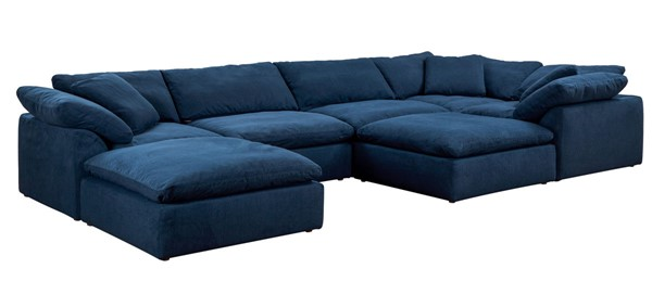 Sunset Trading Cloud Puff Navy Blue Slipcovered 7pc Sectional with Ottoman SST-SU-1458-49-3C-2A-2O