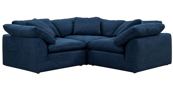 Sunset Trading Cloud Puff Navy Blue Slipcovered Small L Shaped 3pc Sectional SST-SU-1458-49-3C