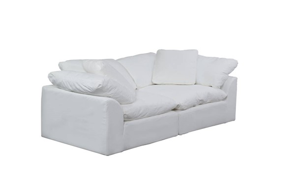 Sunset Trading Cloud Puff White 2pc Slipcovered Large Loveseat SST-SU-1458-81-2C